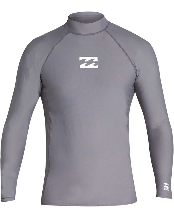 0 Boys' All Day Wave Performance Fit Long Sleeve Long Sleeve Rashguard Grey BR61TBAL Billabong