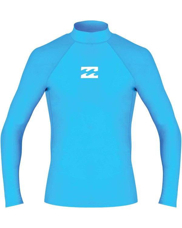 0 Boys' All Day Wave Performance Fit Long Sleeve Long Sleeve Rashguard Blue BR61TBAL Billabong
