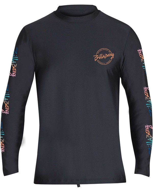 0 Boys' Eighty Six Loose Fit Long Sleeve Rashguard Black BR61TBES Billabong