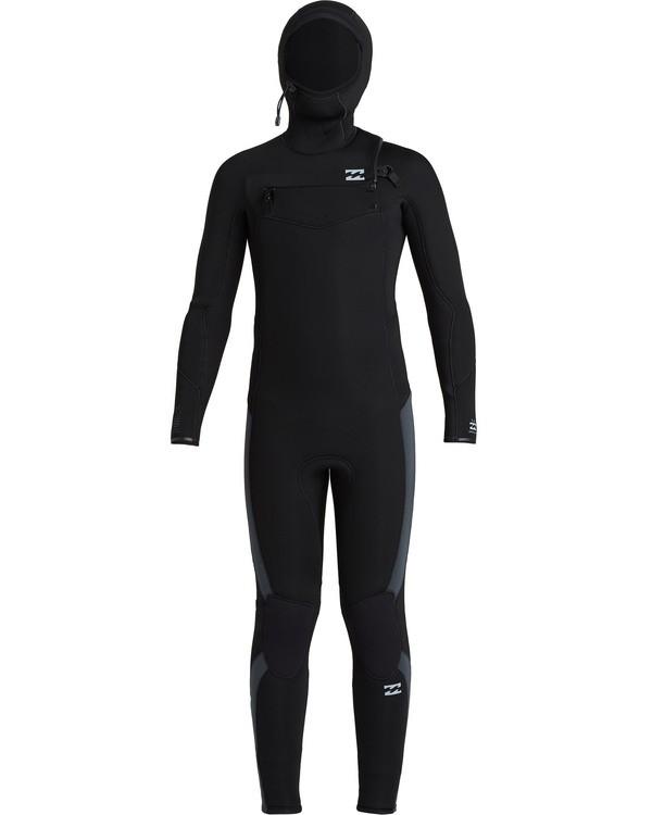 0 Boys' 5/4 Absolute Hooded Chest Zip  Wetsuit Black BWFU3BH5 Billabong