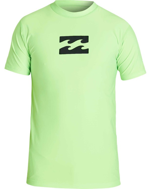 0 Boys' All Day Wave Performance Fit Short Sleeve Rashguard Green BWLYJICS Billabong