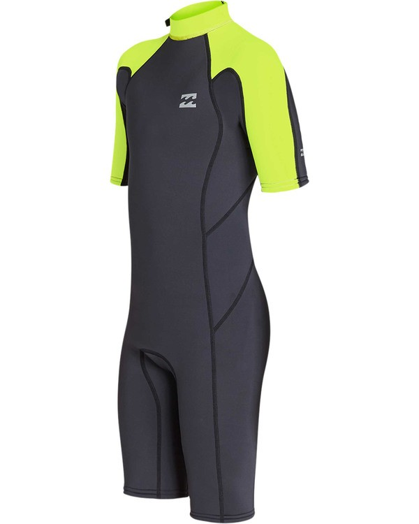 0 Boys' 2mm Absolute Comp Short Sleeve Flatlock Springsuit Yellow BWSPTBAB Billabong