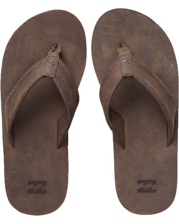 0 All Day Leather Flip Flops Brown C5FF12BIP7 Billabong