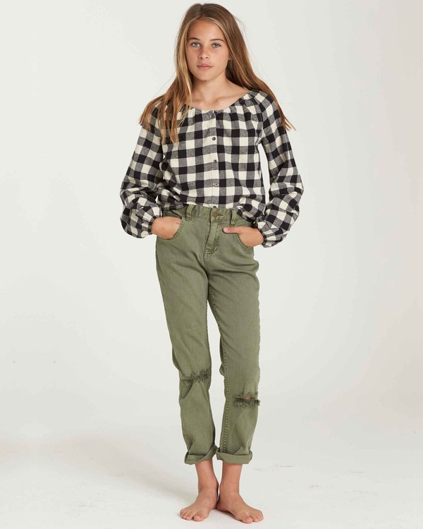 0 Girls' Just Chill Denim Pant Green G304QBJU Billabong