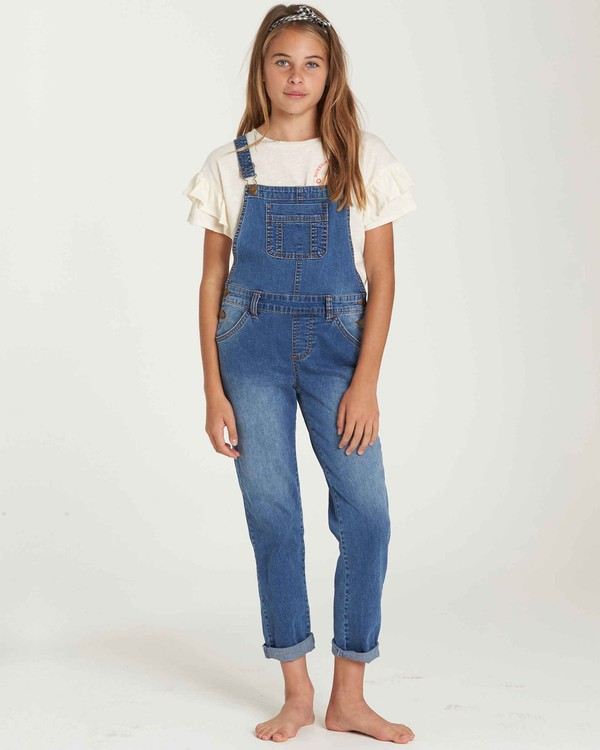 0 Girls' Follow Me Denim Overall Blue G305QBFO Billabong