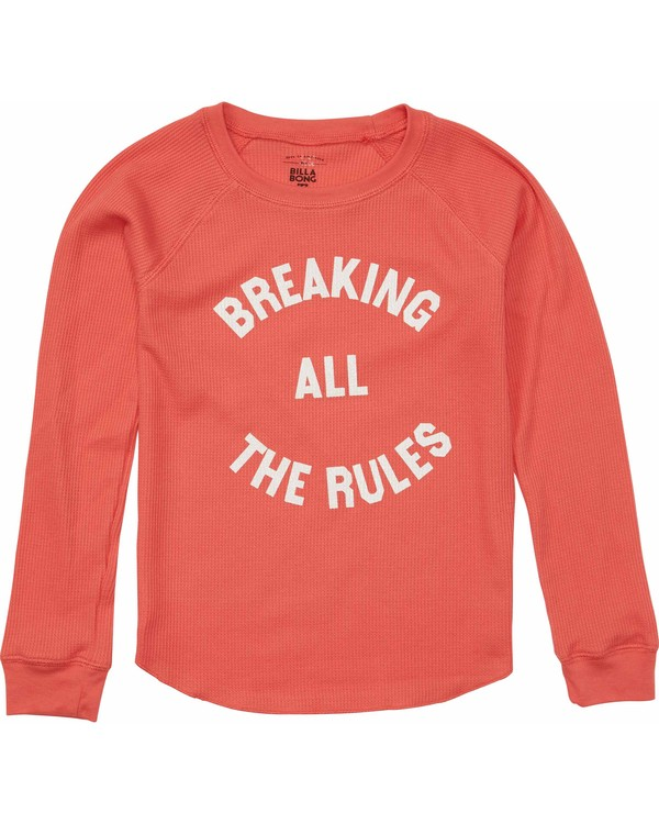 0 Girls' Rule Breaker Long Sleeve T-Shirt Pink G413MRUL Billabong
