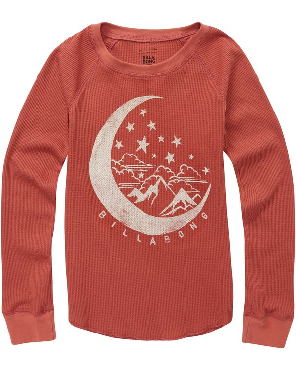 0 Girls' Over The Moon Thermal Long Sleeve T-Shirt Red G413QBOV Billabong