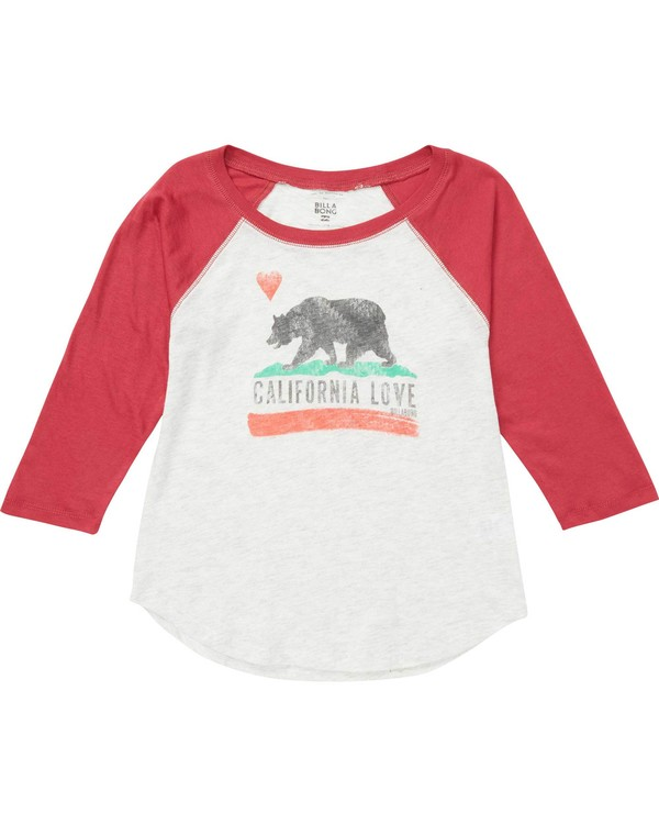 0 Girls' Cali Bear Original Raglan T-Shirt  G418MCAL Billabong