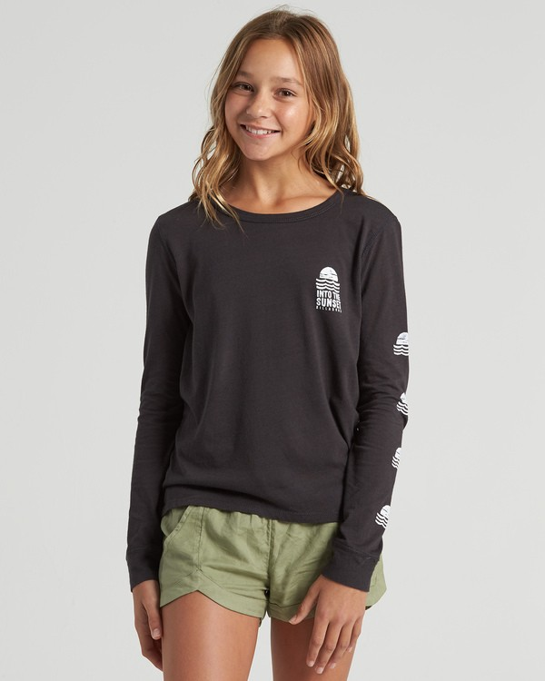 0 Girls' Into The Sunset Long Sleeve T-Shirt Black G4203BIN Billabong