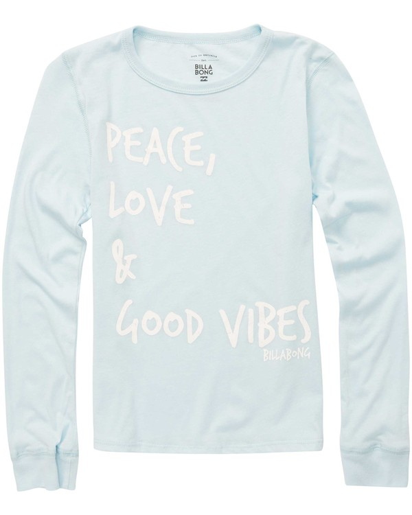 0 Girls' Peace & Love Long Sleeve T-Shirt Blue G420QBPE Billabong