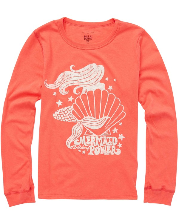 0 Girls' Shell Power Long Sleeve T-Shirt Pink G420QBSH Billabong