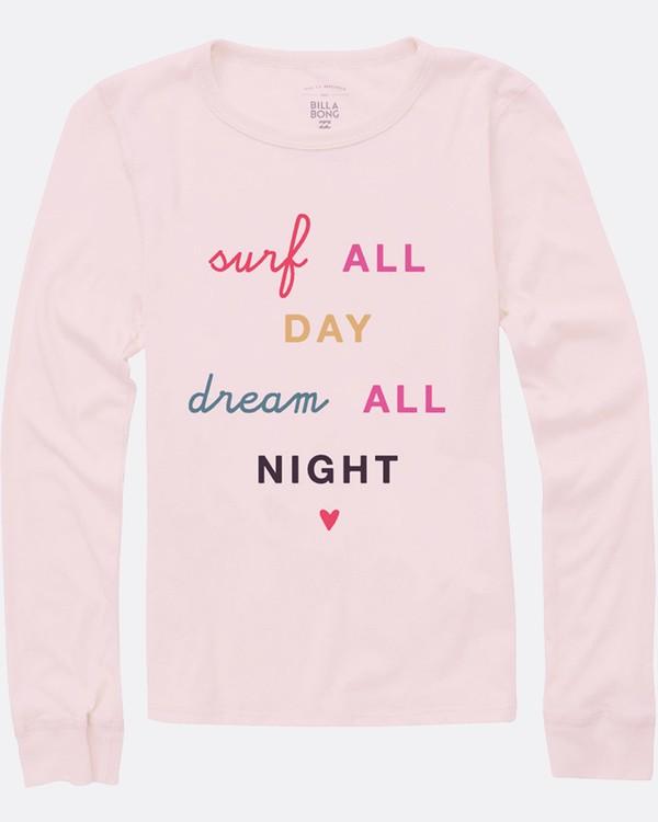 0 Girls' Surf All Day Long Sleeve Tee Pink G420SBSU Billabong