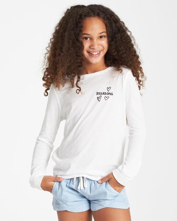0 Girls' Drifting Hearts Long Sleeve T-Shirt Beige G420VBDR Billabong