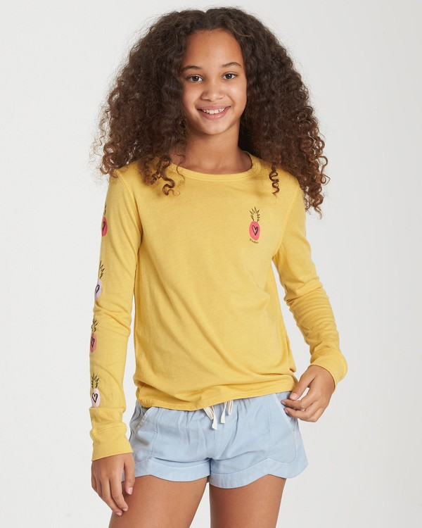 0 Girls' Hearts N Pineapples Long Sleeve T-Shirt Yellow G420WBHE Billabong