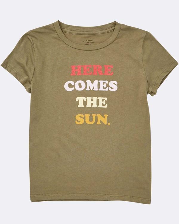 0 Girls' Here Comes The Sun T-Shirt Green G424TBHE Billabong