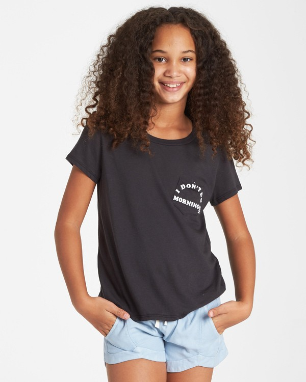 0 Girls' No Mornings T-Shirt Black G424VBNO Billabong