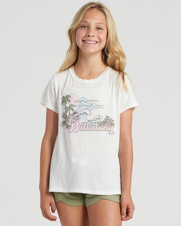 0 Girls' Vintage Postcard T-Shirt White G4843BVI Billabong