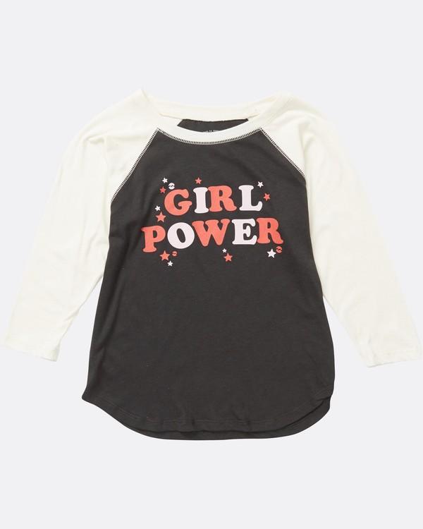 0 Girls' Girl Power Raglan Sleeve T-Shirt Black G486SBGI Billabong