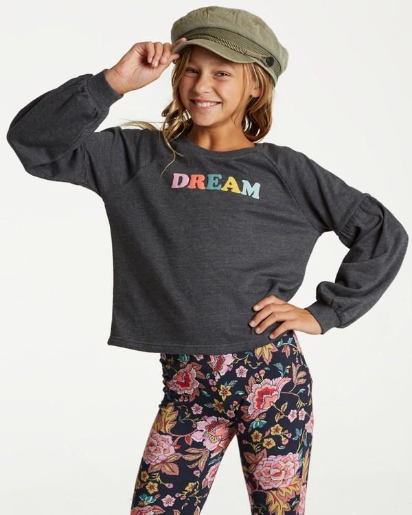 0 Girls' Full Bloom Pullover Crew Black G602TBFU Billabong