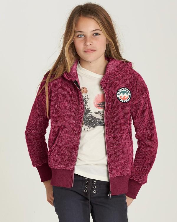 0 Girls' New Love Polar Fleece Hoodie Red G605MNEW Billabong