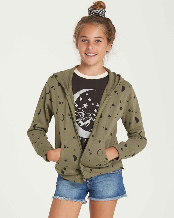 0 Girls' Always It Zip Up Hoodie Green G605QBAL Billabong