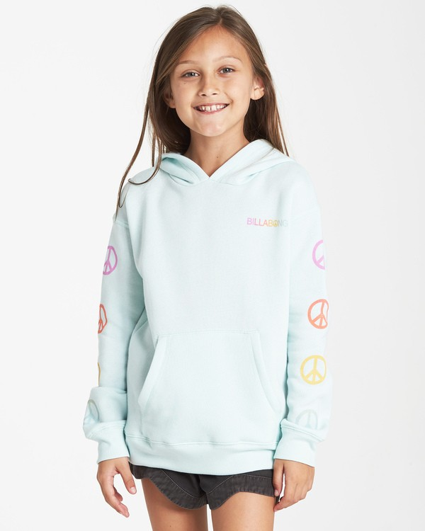 0 Girls' Peace Love And Waves Hoodie Blue G651VBPE Billabong
