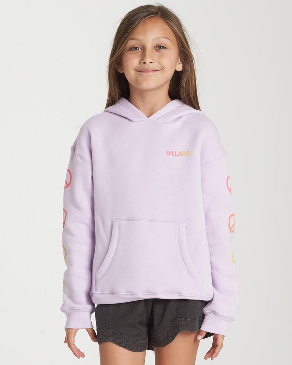0 Girls' Peace Love And Waves Hoodie Purple G651WBPE Billabong