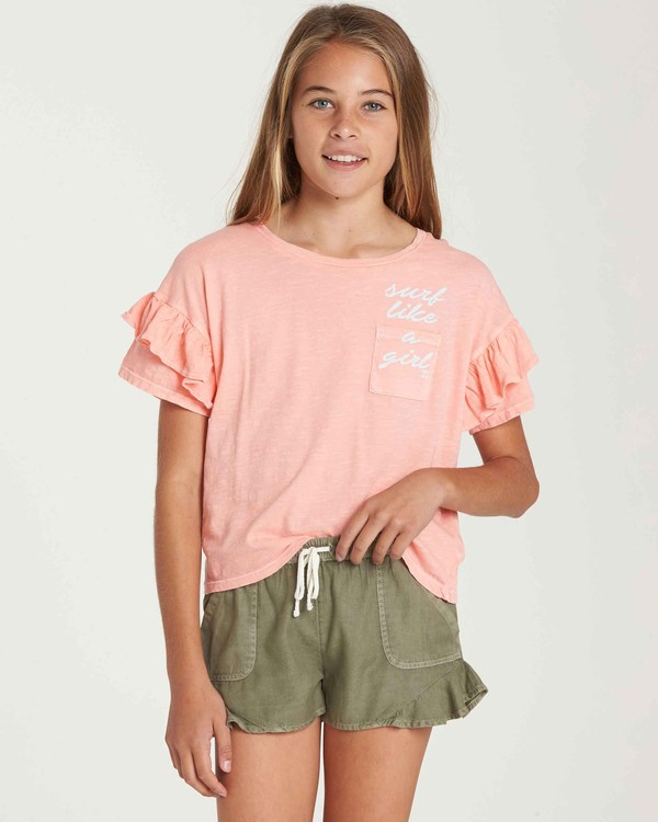 0 Girls' T-Shirt Time Pocket T-Shirt Orange G902QBTE Billabong