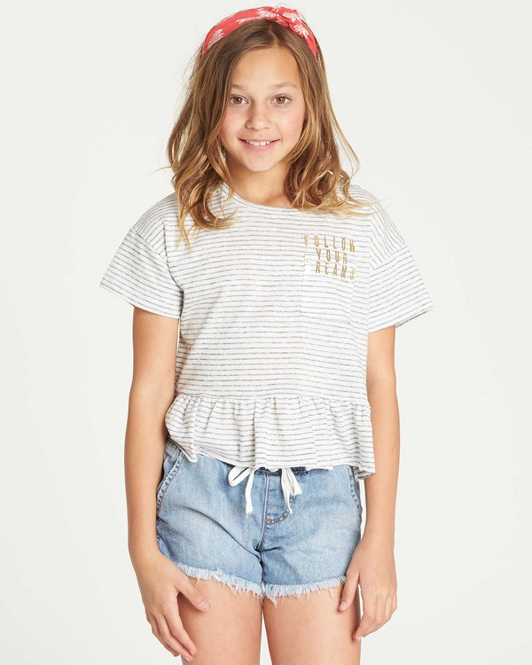 0 Girls' Sand And Sea Peplum T-Shirt Grey G908TBSA Billabong