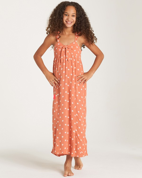 0 Girls' Love Tied Dress Orange GD03WBLO Billabong