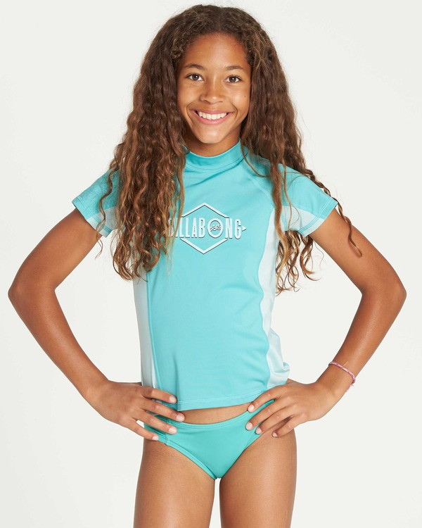 0 Girls' Surf Dayz Performance Short Sleeve Rashguard Green GR03TBSD Billabong