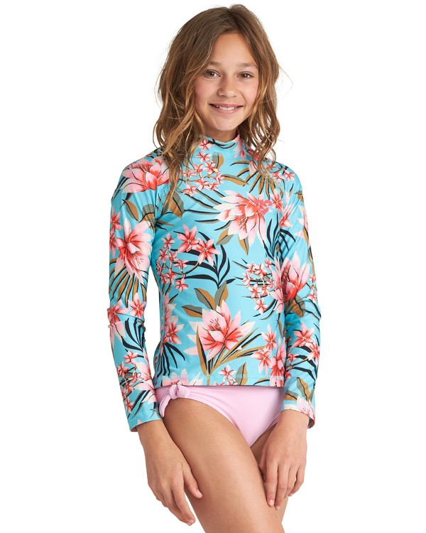 0 Girls' Surf Dayz Performance Fit Long Sleeve Rashguard Grey GR531BSD Billabong