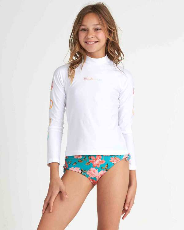 0 Girls' Surf Dayz Performance Fit Long Sleeve Rashguard White GR531BSD Billabong