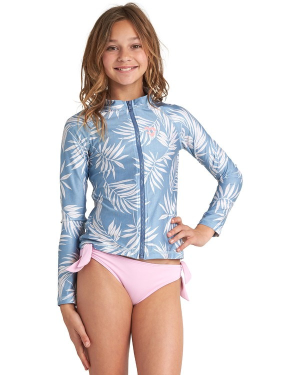 0 Surf Dayz Performance Fit Long Sleeve Zip Front Rashguard Blue GR551BF2 Billabong