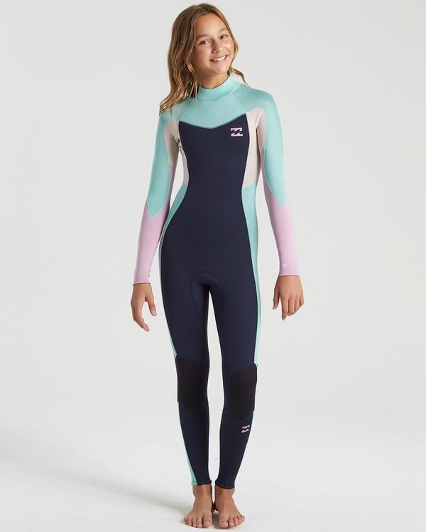 0 3/2 Girls Synergy Back Zip Wetsuit Blue GWFU3BB3 Billabong