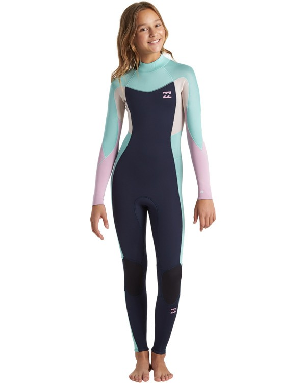 0 4/3 Girls Synergy Back Zip Wetsuit Blue GWFU3BB4 Billabong