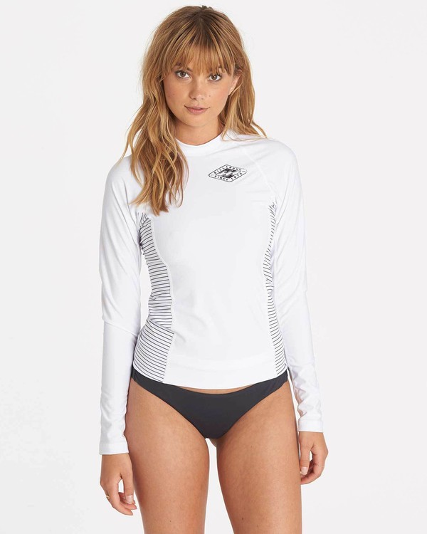 0 Girls' Surf Dayz Performance Fit Long Sleeve Rashguard White GWLYJSCL Billabong