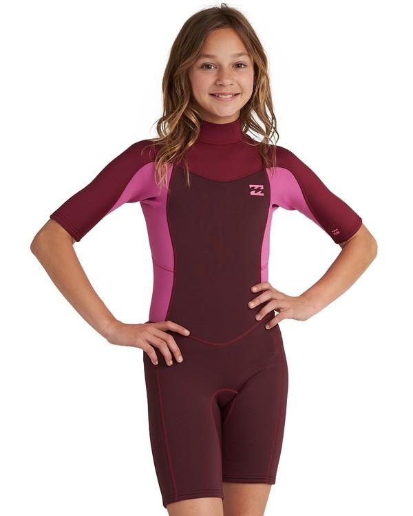 0 Girls' 2mm Synergy Back Zip Wetsuit Red GWSP1BSB Billabong