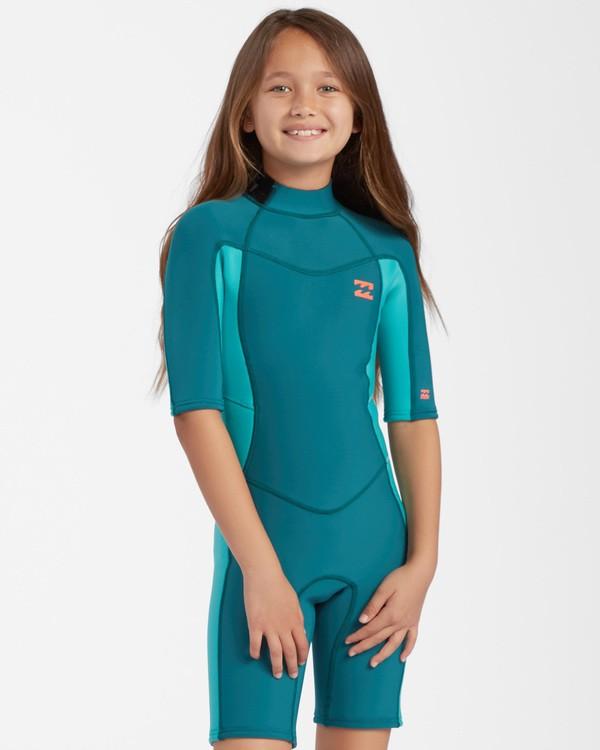 0 2mm Girls Synergy Back Zip Spring Wetsuit Green GWSP3BSB Billabong