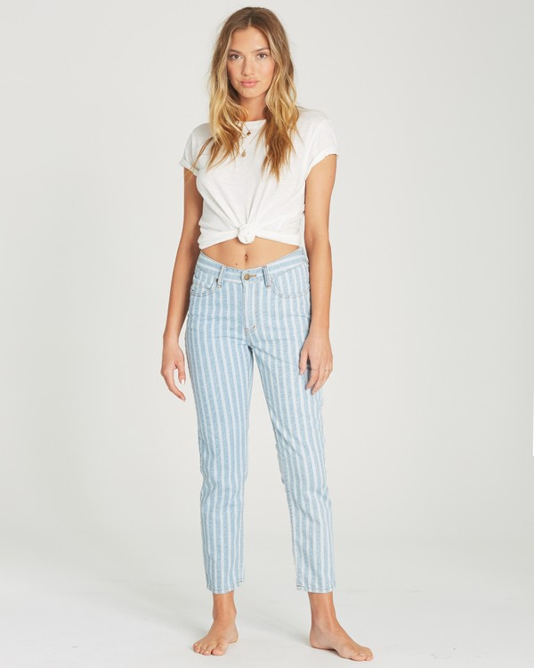0 Cheeky Stripe High-Waisted Denim Pant Blue J319TBCH Billabong
