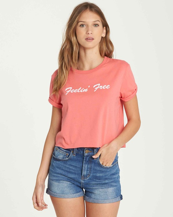 0 Feelin' Free Crop T-Shirt Pink J436QBFE Billabong
