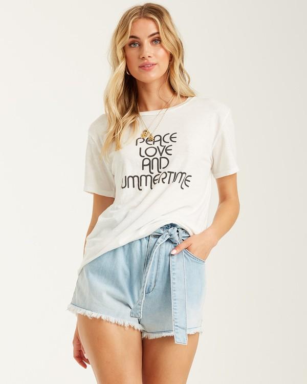 0 Peace And Summertime T-Shirt White J4372BPE Billabong
