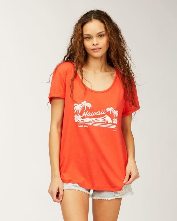 0 Hawaii Aloha Livin' T-Shirt Red J448GALR Billabong