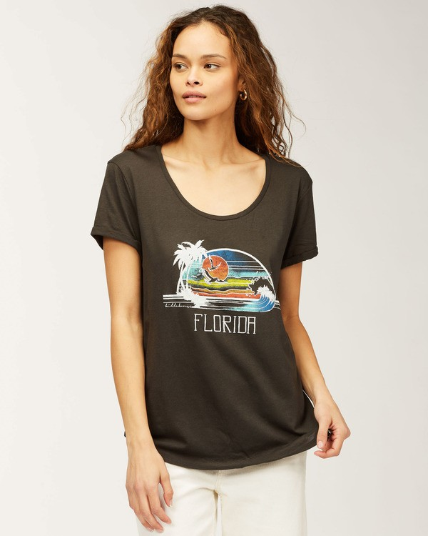 0 Florida Faraway Seas T-Shirt Black J448HFAR Billabong