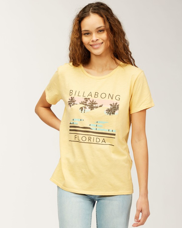 0 Florida Sunset Palms T-Shirt Grey J4673SFL Billabong