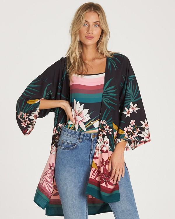 0 Paradise Palms Kimono Top Black J520WBPA Billabong