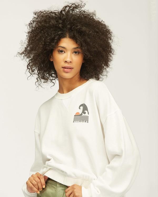 0 Big Wave Crewneck Sweatshirt White J6062BBP Billabong