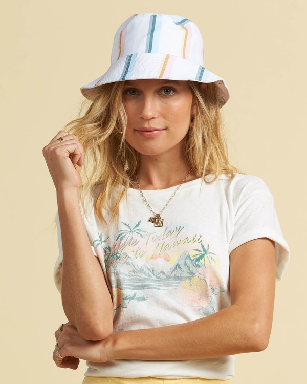 0 Salty Blonde Party On Reversible Bucket Hat Pink JAHW3BPA Billabong