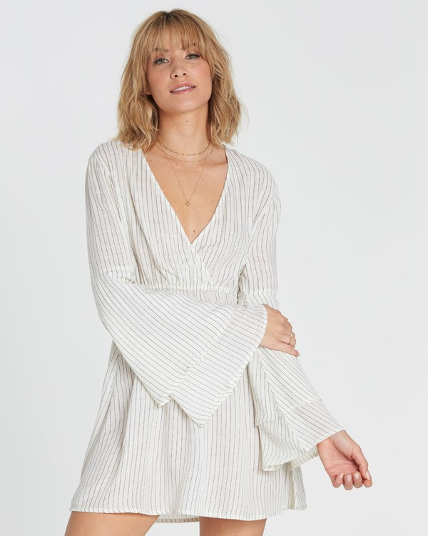 0 Night Fever Long Sleeve Mini Dress White JD33SBNI Billabong