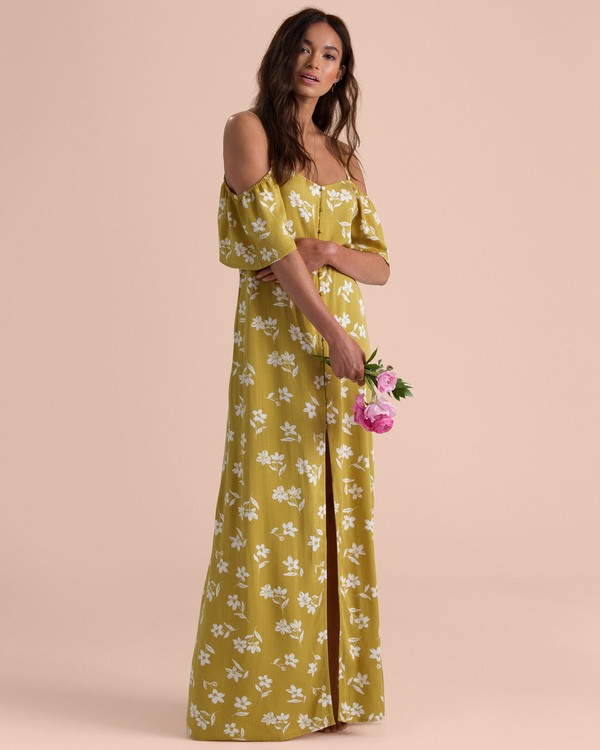 0 Sincerely Jules Shoulder Sway Maxi Dress Yellow JD34TBSH Billabong